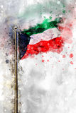 Σημαία Watercolor του κράτους του Κουβέιτ Στοκ φωτογραφία με δικαίωμα ελεύθερης χρήσης