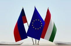 Σημαίες Ένωσης και της Ουγγαρίας του Λιχτενστάιν της Ευρωπαϊκής Στοκ φωτογραφίες με δικαίωμα ελεύθερης χρήσης