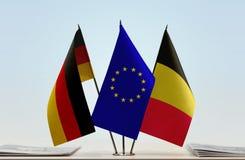 Σημαίες Ένωσης και του Βελγίου της Γερμανίας της Ευρωπαϊκής στοκ εικόνες