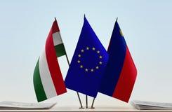 Σημαίες Ένωσης και του Λιχτενστάιν της Ουγγαρίας της Ευρωπαϊκής Στοκ φωτογραφία με δικαίωμα ελεύθερης χρήσης