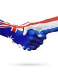 Σημαίες Αυστραλία, ολλανδικές χώρες, φιλία συνεργασίας, εθνική αθλητική ομάδα στοκ εικόνα με δικαίωμα ελεύθερης χρήσης