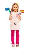Σημαίες εκμετάλλευσης κοριτσιών των ευρωπαϊκών εθνών και των ΗΠΑ Στοκ Εικόνα