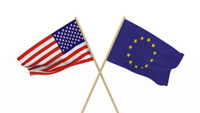 Σημαίες ΗΠΑ και ΕΕ που απομονώνεται τρισδιάστατος δίνει φιλμ μικρού μήκους