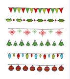 Σημαίες και γιρλάντες Χριστουγέννων καθορισμένες Στοκ Εικόνες