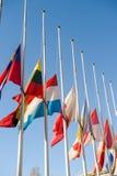 Σημαίες μισό-ιστών όλης της Ευρωπαϊκής Ένωσης μετά από το Παρίσι Στοκ Εικόνα