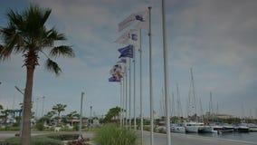 Σημαίες που κολακεύουν στη μαρίνα 4k απόθεμα βίντεο