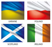 3 σημαίες που τίθενται τον κόσμο Στοκ φωτογραφίες με δικαίωμα ελεύθερης χρήσης