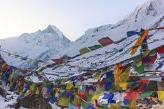 Σημαίες προσευχής και βουνό χιονιού Annapurna του Ιμαλαίαυ, Νεπάλ Στοκ φωτογραφία με δικαίωμα ελεύθερης χρήσης