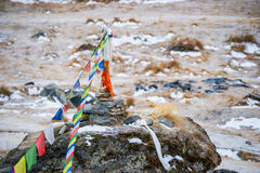 Σημαίες προσευχής χρώματος πάνω από το στρατόπεδο βάσεων Annapurna Στοκ εικόνα με δικαίωμα ελεύθερης χρήσης