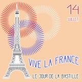 σημαίες πυροτεχνημάτων ημέρας ανασκόπησης bastille εορταστικές Γαλλική εθνική εορτή Ο πύργος του Άιφελ στην κλίμακα Υπόβαθρο Grun ελεύθερη απεικόνιση δικαιώματος