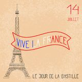 σημαίες πυροτεχνημάτων ημέρας ανασκόπησης bastille εορταστικές Γαλλική εθνική εορτή Ο πύργος του Άιφελ στην κλίμακα Ανασκόπηση Gr ελεύθερη απεικόνιση δικαιώματος