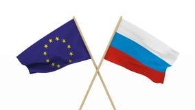 Σημαίες Ρωσία και ΕΕ που απομονώνεται τρισδιάστατος δίνει φιλμ μικρού μήκους