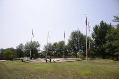 Σημαίες στο ευπρόσδεκτο κέντρο του Τέξας Στοκ Φωτογραφίες