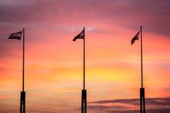 Σημαίες στο ηλιοβασίλεμα Στοκ Εικόνες