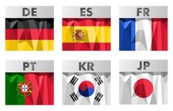 Σημαίες στο polygonal ύφος Στοκ Φωτογραφίες