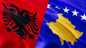 Σημαίες της Αλβανίας και Κοσόβου Σχέδιο σημαιών κυματισμού, τρισδιάστατη απόδοση Σημαία της Αλβανίας Κόσοβο, εικόνα, ταπετσαρία,  ελεύθερη απεικόνιση δικαιώματος