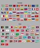 Σημαίες της Ασίας και της Ευρώπης απεικόνιση αποθεμάτων