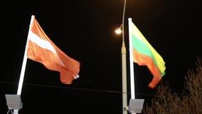Σημαίες της Αυστρίας και της Λιθουανίας με το φωτισμό στον αέρα τη νύχτα απόθεμα βίντεο
