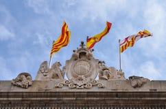 Σημαίες της Βαρκελώνης, Καταλωνία Στοκ Εικόνες