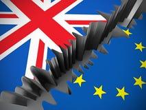 Σημαίες της βρετανικής και Ευρωπαϊκής Ένωσης που χωρίζονται από τη ρωγμή απεικόνιση αποθεμάτων