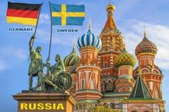 Σημαίες της Γερμανίας και της Σουηδίας που δύο πολεμιστές σε ένα άγαλμα στοκ φωτογραφίες με δικαίωμα ελεύθερης χρήσης