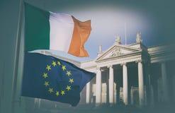 Σημαίες της ΕΕ και της Ιρλανδίας Στοκ Εικόνες