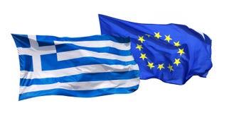 Σημαίες της Ελλάδας και της ΕΕ, που απομονώνονται στο λευκό Στοκ φωτογραφία με δικαίωμα ελεύθερης χρήσης