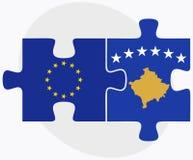 Σημαίες της Ευρωπαϊκής Ένωσης και Κοσόβου στο γρίφο Στοκ Εικόνες