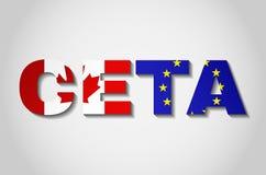 Σημαίες της Ευρωπαϊκής Ένωσης του Καναδά και CETA στο κείμενο με τη σκιά Στοκ Φωτογραφία