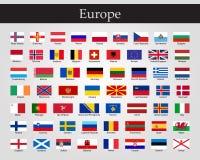 Σημαίες της Ευρώπης - πλήρης διανυσματική συλλογή Διανυσματικό EPS 10 απεικόνιση αποθεμάτων