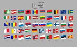 Σημαίες της Ευρώπης - πλήρης διανυσματική συλλογή απεικόνιση αποθεμάτων
