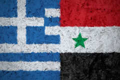 Σημαίες της Ελλάδας και της Συρίας Στοκ Φωτογραφία