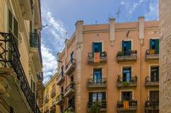 Σημαίες της Καταλωνίας στη Βαρκελώνη στοκ φωτογραφία