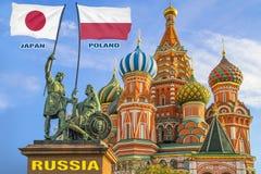 Σημαίες της Κορέας Ιαπωνία και της Πολωνίας που δύο πολεμιστές σε ένα άγαλμα στοκ εικόνα με δικαίωμα ελεύθερης χρήσης