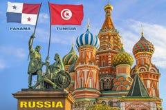 Σημαίες της Κορέας Παναμάς και της Τυνησίας που δύο πολεμιστές σε ένα άγαλμα στοκ εικόνες