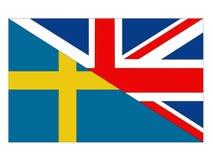 Σημαίες της Μεγάλης Βρετανίας και της Σουηδίας διανυσματική απεικόνιση
