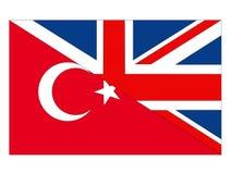 Σημαίες της Μεγάλης Βρετανίας και της Τουρκίας διανυσματική απεικόνιση