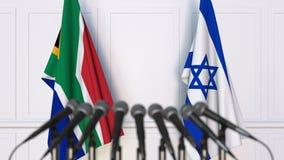 Σημαίες της Νότιας Αφρικής και του Ισραήλ στη διεθνή συνεδρίαση ή τη διάσκεψη τρισδιάστατη απόδοση Στοκ Φωτογραφίες