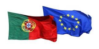 Σημαίες της Πορτογαλίας και της ΕΕ, που απομονώνονται στο λευκό Στοκ Εικόνες