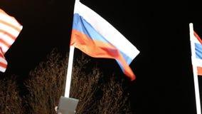 Σημαίες της Ρωσίας με το φωτισμό και των δέντρων στον αέρα στη σκοτεινή νύχτα απόθεμα βίντεο