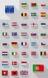 Σημαίες της τυπογραφίας της Ευρώπης, γραφική παράσταση μπλουζών Στοκ Εικόνες