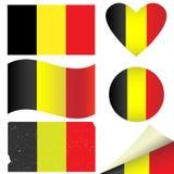 Σημαίες του Βελγίου καθορισμένες Στοκ εικόνες με δικαίωμα ελεύθερης χρήσης