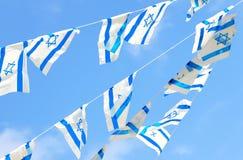 Σημαίες του Ισραήλ στη ημέρα της ανεξαρτησίας Στοκ Φωτογραφία