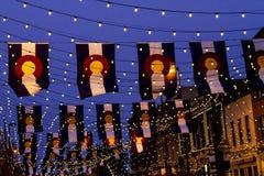 Σημαίες του Κολοράντο σε Larimer τετραγωνικό Ντένβερ Στοκ Εικόνες