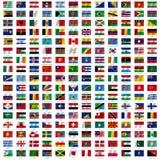 Σημαίες του κόσμου και του χάρτη στο άσπρο υπόβαθρο Στοκ Εικόνες