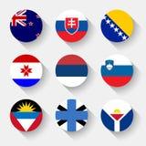 Σημαίες του κόσμου, στρογγυλά κουμπιά απεικόνιση αποθεμάτων