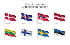 Σημαίες των βόρειων χωρών της Ευρώπης Στοκ εικόνα με δικαίωμα ελεύθερης χρήσης