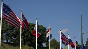 Σημαίες των ευρωπαϊκών χωρών και των ΗΠΑ 4K απόθεμα βίντεο