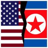 Σημαίες των ΗΠΑ και Βόρεια Κορεών με μια ρωγμή διανυσματική απεικόνιση