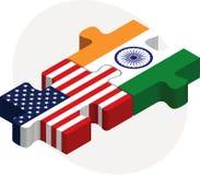 Σημαίες των ΗΠΑ και της Ινδίας στο γρίφο Στοκ Εικόνες